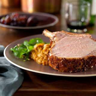 Coriander and Cumin Roasted Rack of Pork with Five Spice Pumpkin Puree and a Chile, Pumpkin Seed and Cilantro Salad.