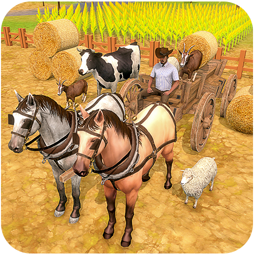 transporte de fazenda de carrinho de cavalo