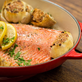 Garlic Butter Baked Salmon courtesy of Le Creuset