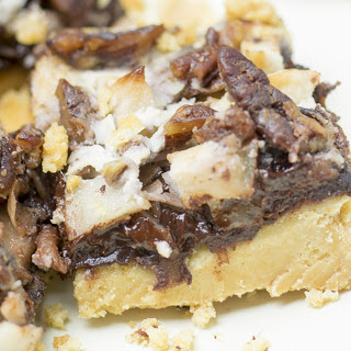 Apple Pecan Chocolate Bars on a Crunchy Cracker Crust [Vegan]