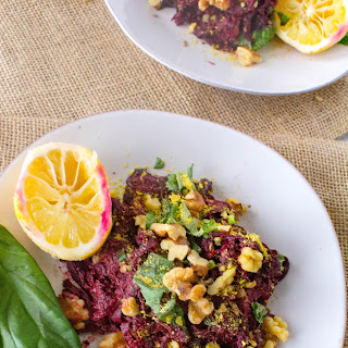 Beet Noodles with Beet Green Pesto