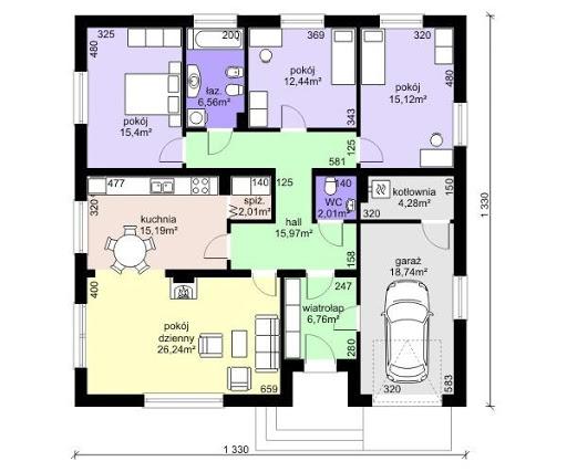 Dom przy Słonecznej 2 bis - Rzut parteru