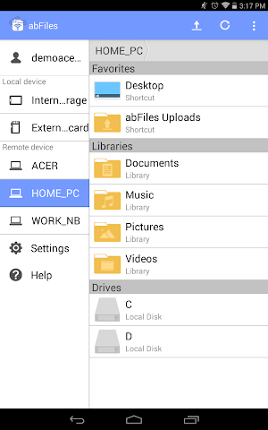 android abFiles (Acer Remote Files) Screenshot 0