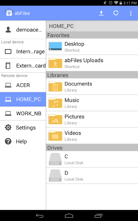 abFiles (Acer Remote Files)- screenshot