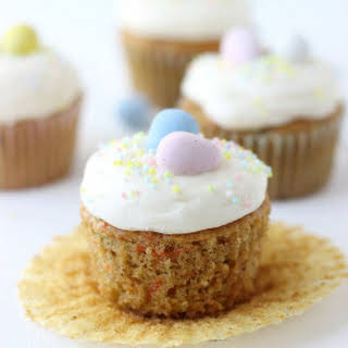 Carrot Cake Cupcakes with Mascarpone Cream Cheese Frosting.