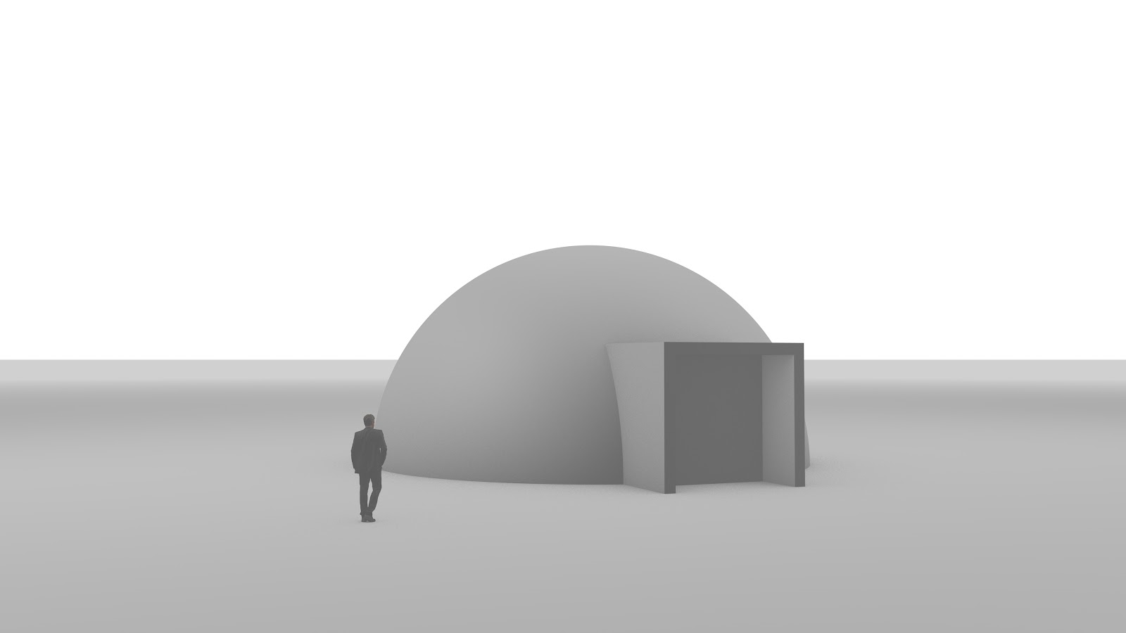 Grey sketch with a spherical space and a man in a suit walking towards the dome
