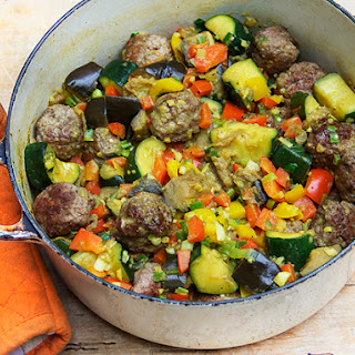 INDIAN-STYLE RATATOUILLE WITH LAMB MEATBALLS.