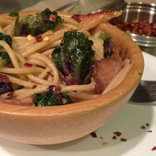 Sprout And Bacon Spaghetti.