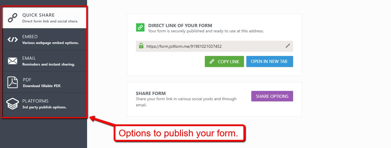publish jotform