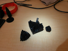 Photo: Our second screweless cube gear. This one uses separate pinconnectorsinstead of integrated pins, they seem to work much better. http://www.thingiverse.com/thing:10483