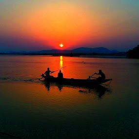 River and dusk by Prince Frankenstein - Instagram & Mobile Android ( sunset, boat, people, dusk, river,  )