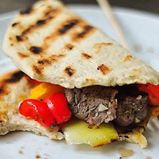 Rosemary-Lemon Steak Kebabs with Flatbread.