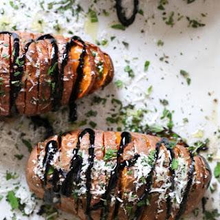 Parmesan Hasselback Sweet Potatoes with Balsamic Glaze.