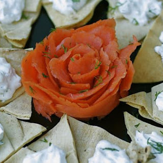 Smoked Salmon With Dilled Labneh On Pita Chips.