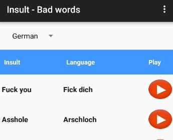 Bad Word In German