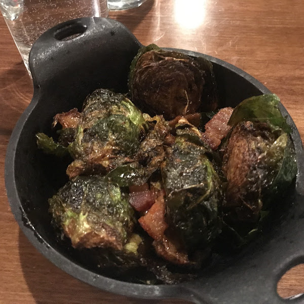 Wonderful flavoring in these Brussel Sprouts!!! Pirk Belly, balsamic, vermouth and citrus!