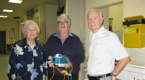 Narrabri Hospital Auxiliary president Sally Alexander, Louise Gett and Kerry Moroney with the new bispectral monitor bought with funds from a Rolls family bequest.