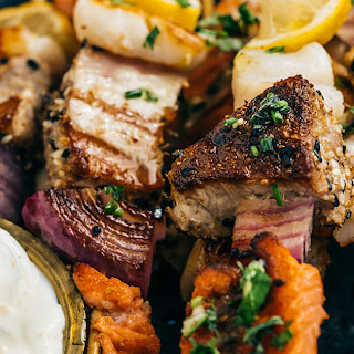 Seafood Skewers with Herbed Oil and Citrus Dipping Cream Recipe