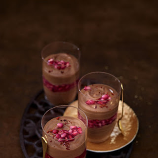 Spicy Chocolate Mousse with Pomegranate Compote