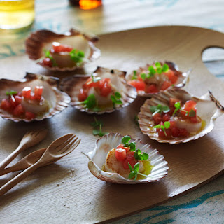 Scallops with Warm Tomato-Basil Dressing.