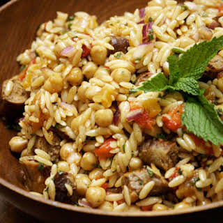 Orzo with Merguez Sausage and Chickpeas.