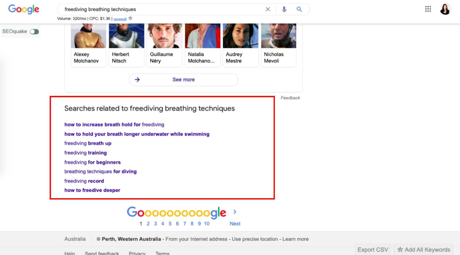 search related keyword from google