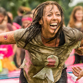Smile of a Champion by Barry Carter - Sports & Fitness Running ( laughing, pretty muddy, dirty, cross country, smile, race for life, charity, running, race, smiling, , best female portraiture )