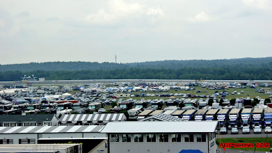 Photo: there we are in the middle of the picture .... the view from our seatsin the stands on race day