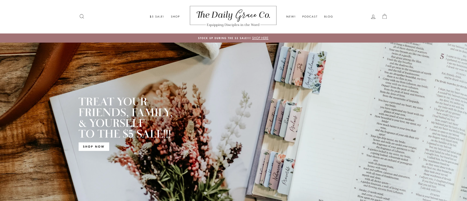 The Daily Grace Co website image for $5 sale