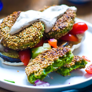 Sesame Encrusted Spinach & Almond Falafels with Tahini Yoghurt