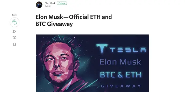 Screengrab showing the now-deleted page promoting a fake BTC Elon Musk giveaway