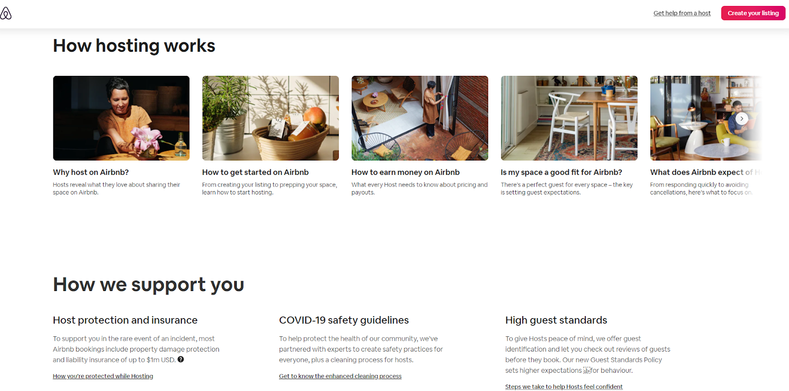"Screenshot of the Airbnb website showing ""how hosting works"" and ""how we support you"" which portrays the Airbnb's value proposition for hosts very clearly, addressing their worries & solving their problem"