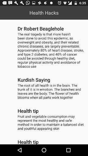 HealthHacks Health Boost tips 1.0 screenshots 2