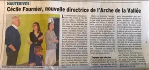 Extrait article L'Arche de La Vallée Dauphiné Libéré