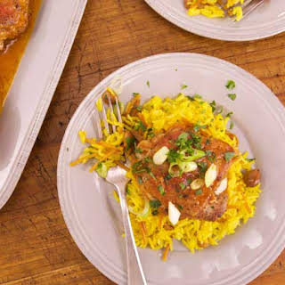 Spanish Chicken Thighs with Tomato and Saffron Rice with Almonds.