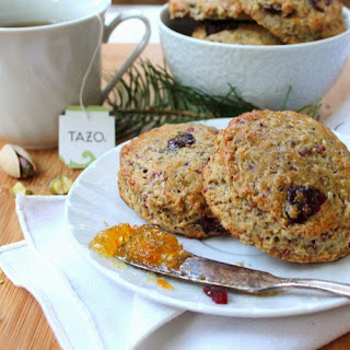 Oatmeal Buttermilk Breakfast Scones with Cranberry and Pistachio
