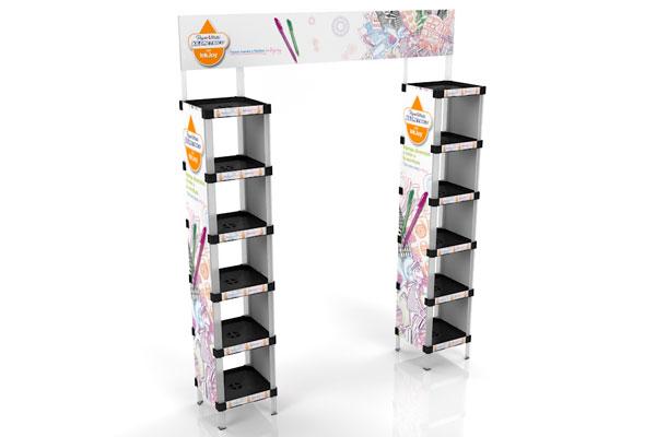 exhibidor modular plástico con bandejas y gráfica payloader PL13