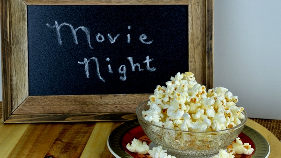 Movie Night Sign and Popcorn
