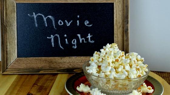 Movie Night Sign and Popcorn