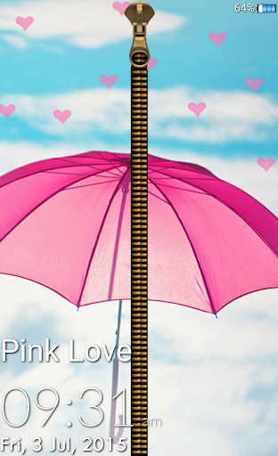 Pink Love Zipper Lock Screen