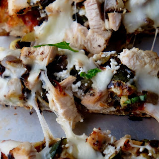 Grilled Ciabatta Pizza with Chicken and Vegetables.