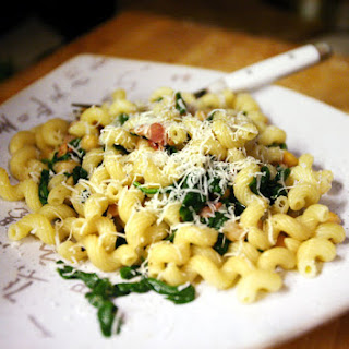 Cavatappi with Bacon, Spinach, and Chickpeas.
