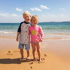 On The Beach by Geoffrey Wols - Babies & Children Child Portraits ( children, girl, boy, brother, sister,  )