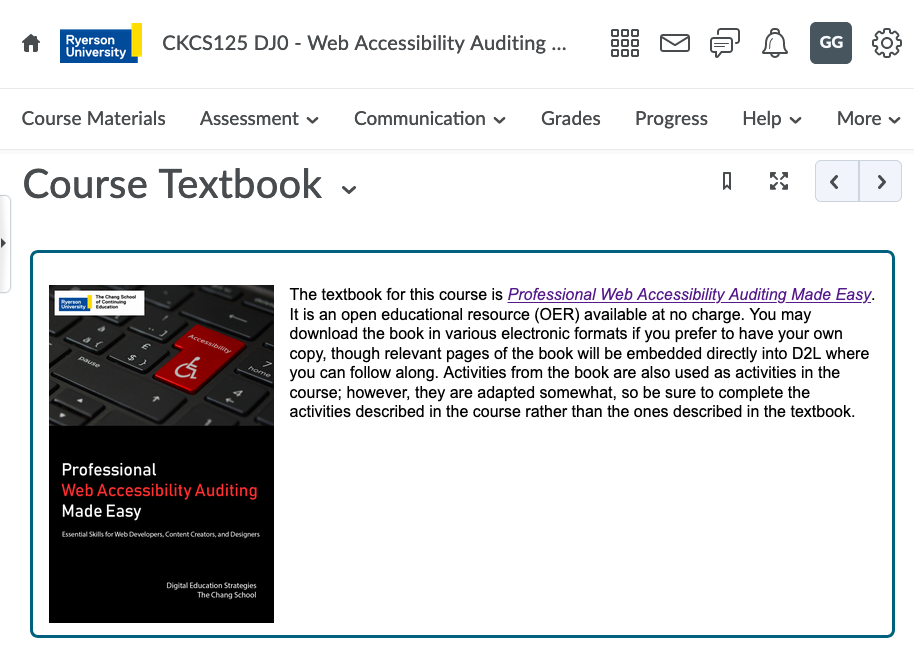 [Alt text - Screenshot of CKCS125 open text book]