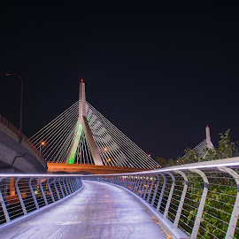 Pathway to Zakim by Paul Gibson - Buildings & Architecture Bridges & Suspended Structures ( leading lines, night photography, boston, night, long exposure, bridge )