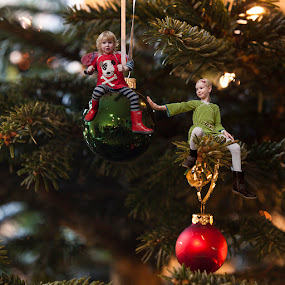 In our christmas tree angels are playing by K J - Digital Art People