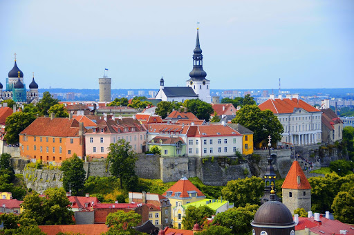 A picture postcard-perfect view of historic Tallinn, Estonia.