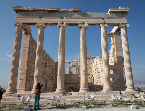athens.jpg - The Erechtheion or Erechtheum, an ancient Greek temple on the north side of the Acropolis in Athens dedicated to Athena and Poseidon.