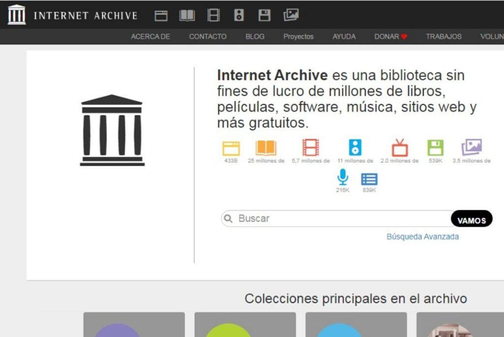 Pantallazo de la pagina web de Internet Archive para ver películas clásicas gratis en Internet