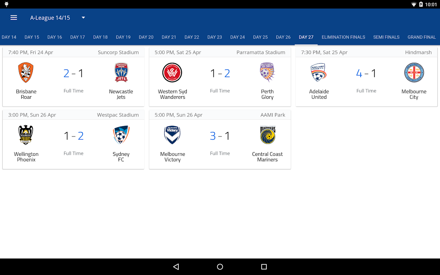 A-League Live 2016/17- screenshot
